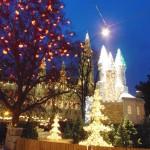 ozdoby, ozdóbki, lampy, lampeczki ... wszedzie ...na  drzewach, fontannach,  płotkach....